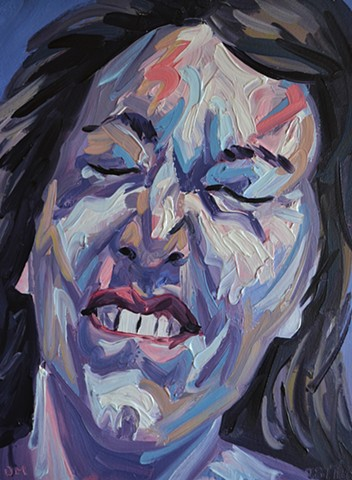La Petite Mort No. 4, Woman, girl, masturbating, orgasm, face, head, o-face, painting, oil paint,david murphy, ireland