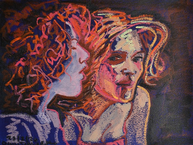 Two Girls in Nightclub No. 1, oil pastel, drawing, artwork, david murphy, irish, ireland