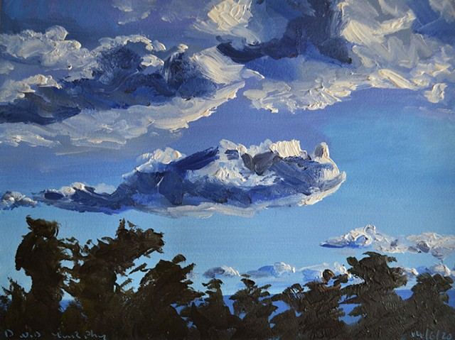 Clouds Over Howth No. 7, oil painting, david murphy, irish, ireland, painting, sky, coulds, dublin