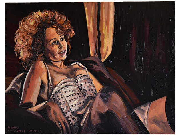 Redhead in Stockings, Oil on Panel, David Murphy, Cypher, The Panic Artist