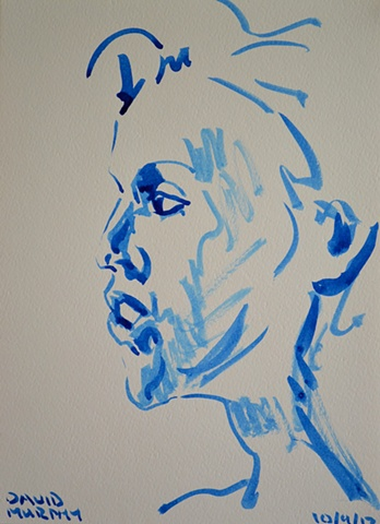 Female Head Sketch No. 3, David Murphy, Irish, Ireland, Artist, Painter, Draughtsman,