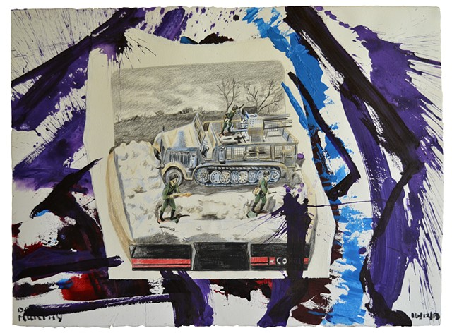 Anti-Aircraft Gun, 2013, painting, collage, drawing, david murphy