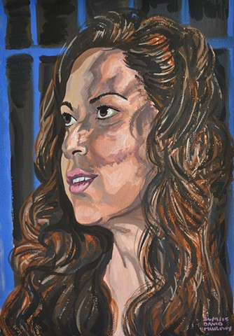 Dark Haired Muse, David Murphy, Gouache, portrait