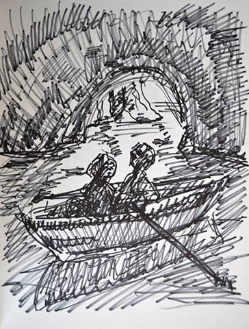 Lovers in Boat in Cave, sketch, study, drawing, notebook, marker, David Murphy, Cypher, The Panic Artist