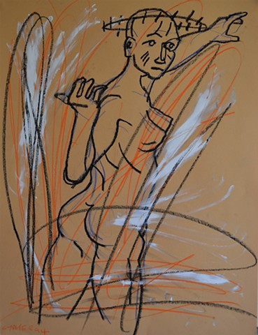 twisting nude, drawing, david murphy, cypher, the panic artist, dublin, ireland, outcast, outsider,