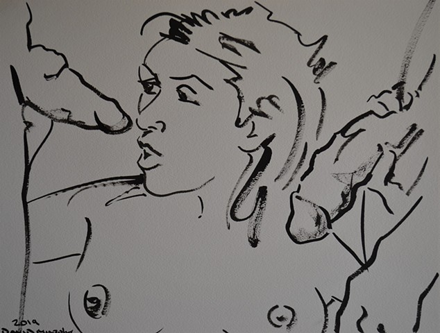 Threesome, drawing, oral sex, fellatio, porn, brush and Indian ink, david murphy, Irish, Ireland