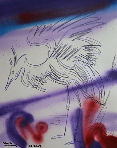 Crane, 2013, drawing, spray paint, david murphy