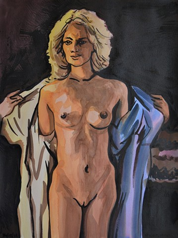 Woman Taking Off Robe, watercolour, erotic, drawing, artwork, painting, david murphy, irish, ireland