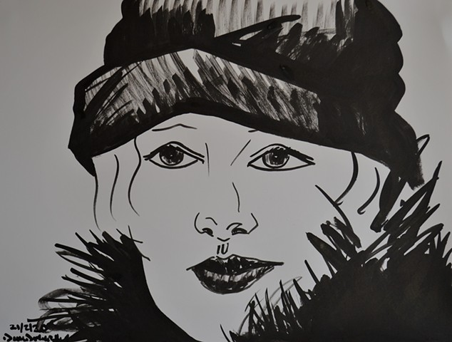 Woman in Furs No. 2, brush and Indian ink, drawing, portrait, david murphy, irish, ireland