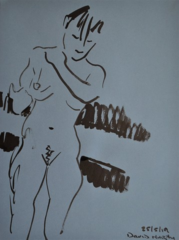 Brief Nude, brush and Indian ink, nude, erotic, drawing, david murphy, irish, ireland, dublin