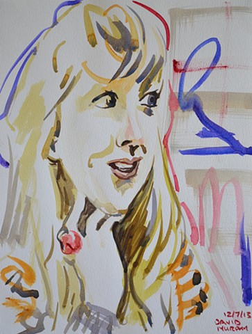 Kooky Girl, watercolour, wet in wet, david murphy