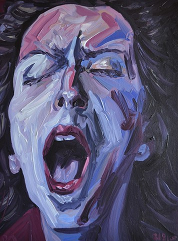 La Petite Mort No. 8, Woman, girl, masturbating, orgasm, face, head, o-face, painting, oil paint,david murphy, ireland