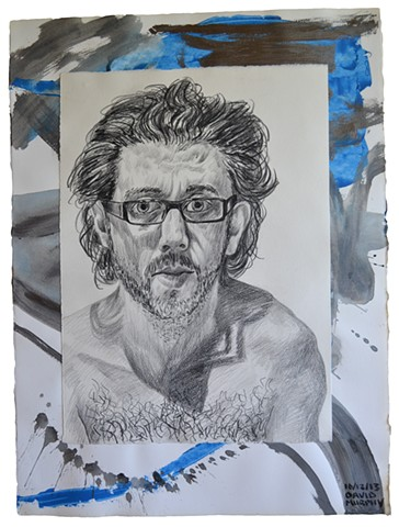 Bare Chested Self-Portrait No. 2, 2013, painting, collage, drawing, david murphy