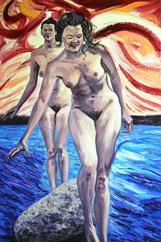 Sirens, oil on canvas, nudes by sea