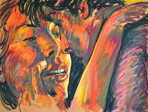 Lovers, pastel, david murphy, irish artist, dublin, ireland, irish painter