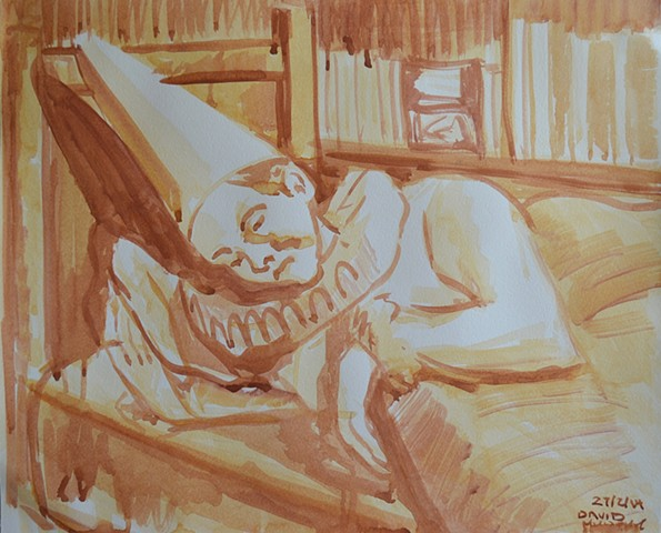 Clown Sleeping, watercolour, david murphy,