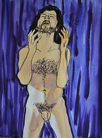 Self-Portrait in Blue and Purple No. 4, watercolour, indian ink, david murphy, artist, ireland, irish, dublin