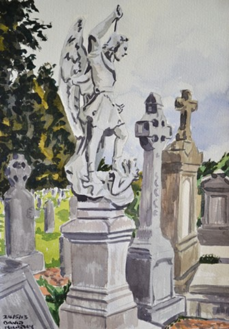 Monuments in Glasnevin, watercolour, realist, david murphy