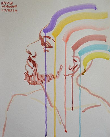 Rainbow Self-Portrait No. 1, 2014, david murphy, watercolour,