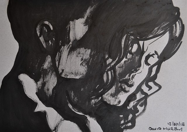 Lovers in the Dark, drawing, erotic, porn, brush and ink, david murphy, irish, ireland