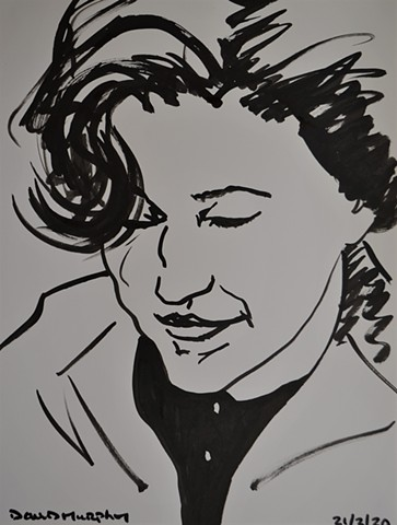 Thoughtful Student, brush and Indian ink, drawing, portrait, david murphy, irish, ireland