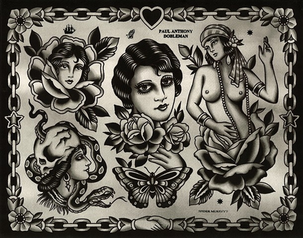 Woman Tattoo Flash, Black and Grey Tattoo Flash