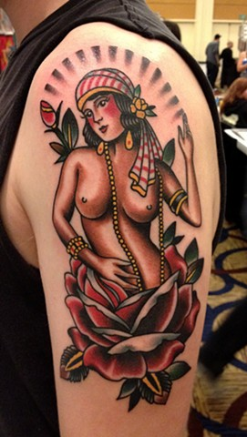Woman Tattoo, Rose Tattoo, Woman in Rose Tattoo