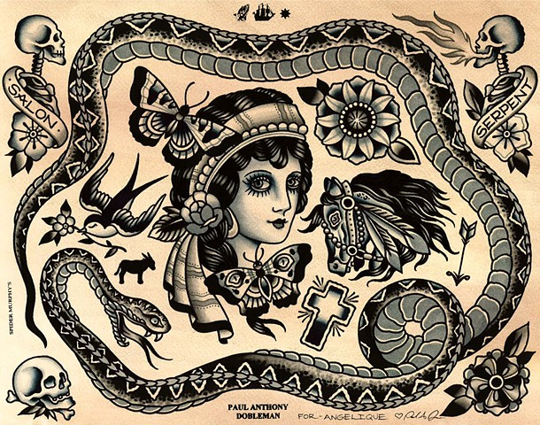 Tattoo Flash for Salon Serpent, Snake Tattoo, Girl Tattoo