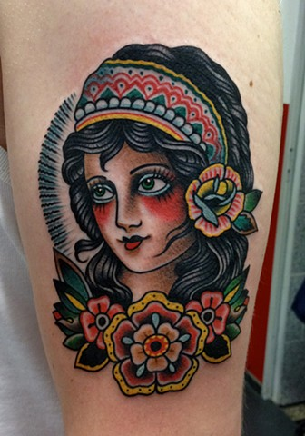 Girl Tattoo, Flower Tattoo, Girl Head Tattoo