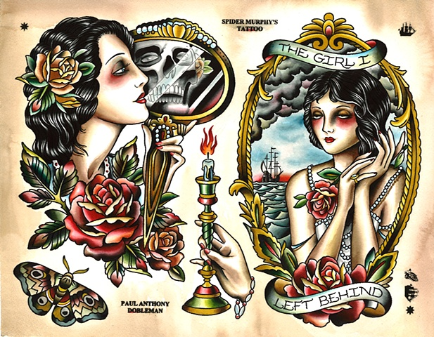 Woman Tattoo Flash, The Girl I left Behind Tattoo Flash, Spider Murphy's Tattoo Flash