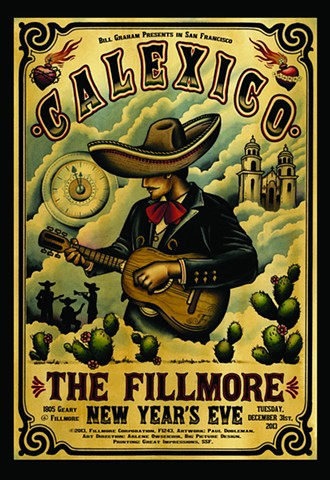 New Years Eve Fillmore Poster, San Francisco, Calexico, Mariachi
