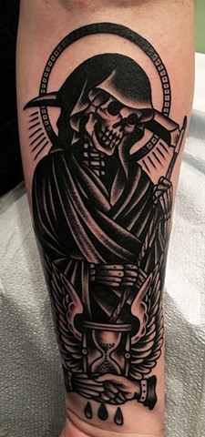 Reaper Tattoo, Tarot card Tattoo, Black and Grey Tattoo