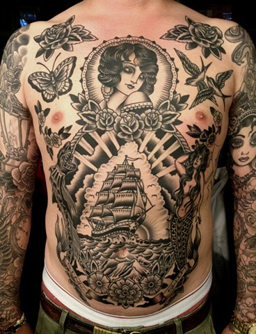 Nautical Torso Tattoo Girl Ship