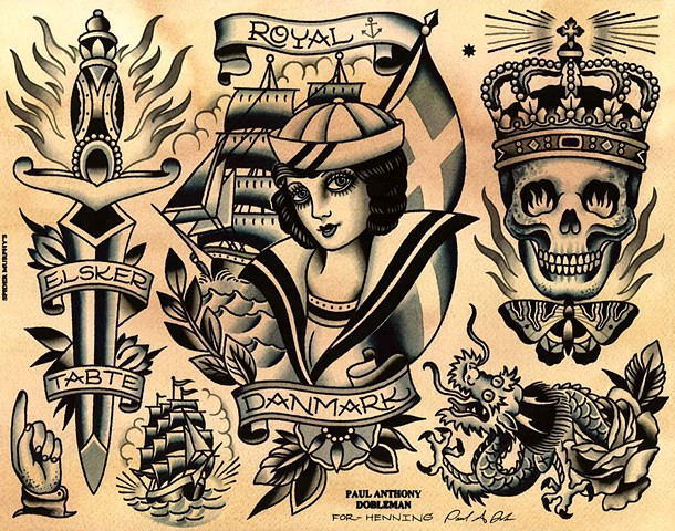 Tattoo Flash, Danish Tattoo Flash, Royal Tattoo Flash, Skull, Crown, Dagger