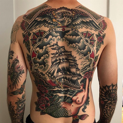 Back piece tattoo, Traditional back piece tattoo, ship tattoo, mermaid tattoo