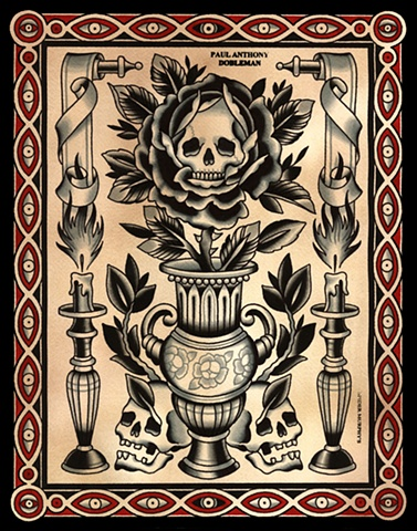 Skull and Vase Tattoo Flash, Spider Murphy's Tattoo Flash