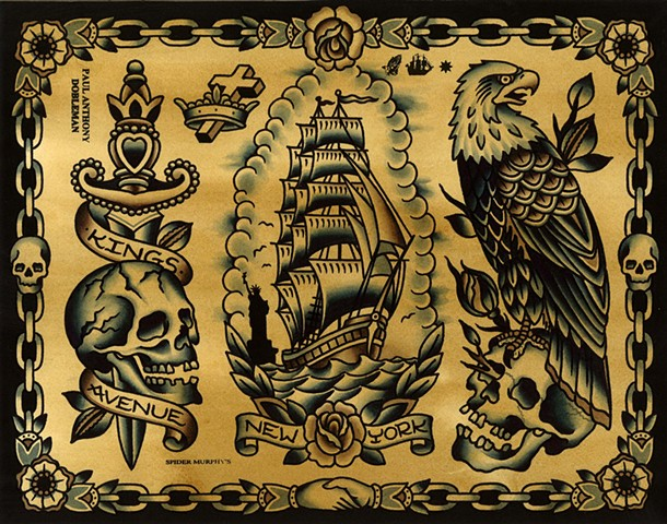Tattoo Flash, Kings Avenue Tattoo, New York, Eagle Tattoo, Ship Tattoo, Dagger Tattoo