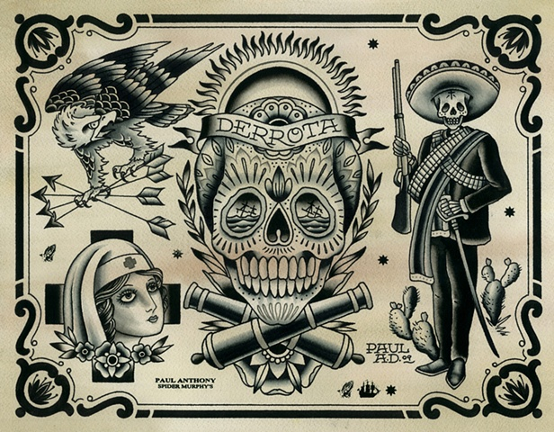Day of the Dead Tattoo Flash, Zapatista Tattoo Flash