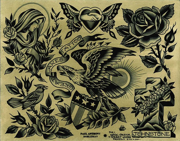Tattoo Flash, Eagle, Virgin Mary, Rose