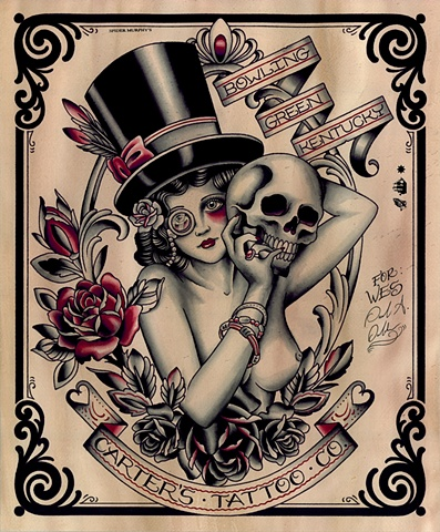 Lady with Skull Tattoo Painting