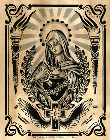 Virgin Mary Tattoo Flash, Black and Grey Tattoo Flash