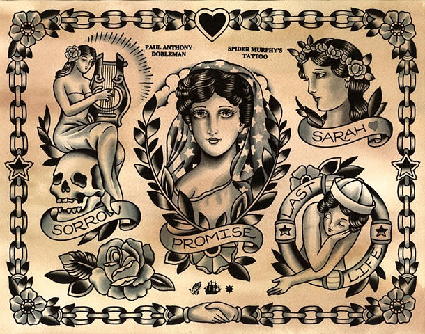 Lady Liberty Tattoo Flash, Spider Murphy's Tattoo Flash, Girl Tattoo