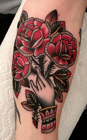 Hand and Flowers Tattoo