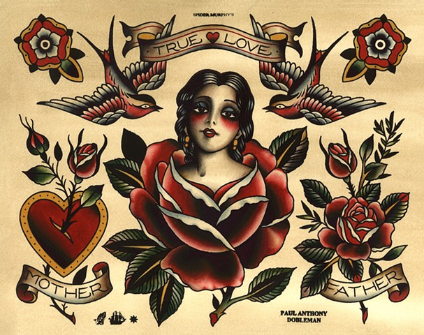 True Love Tattoo Flash, Sweetheart Tattoo Flash, Swallow Tattoo Flash, Rose Tattoo, Spider Murphy's Tattoo Flash