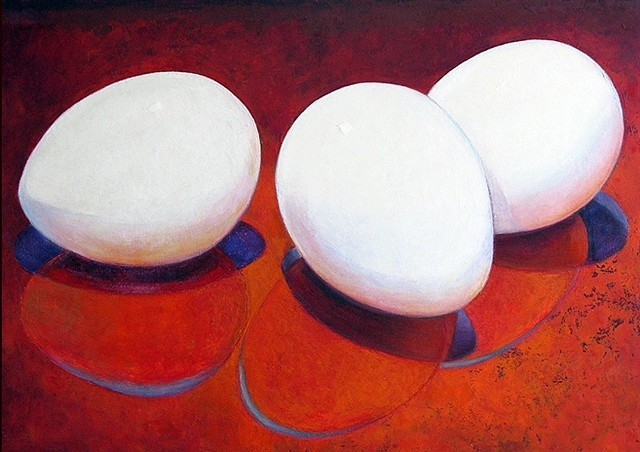 three white eggs on red background with blue and orange shadows/ oil painting