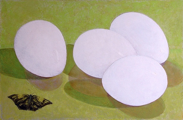 four white eggs on a lime green background and brown butterfly / oil painting