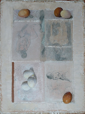 three brown eggs and two white eggs with three figures on a gray background; oil painting; art