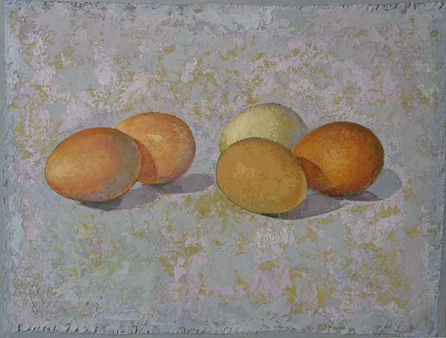 four brown eggs and one white egg  on a gray- green background; oil painting; art