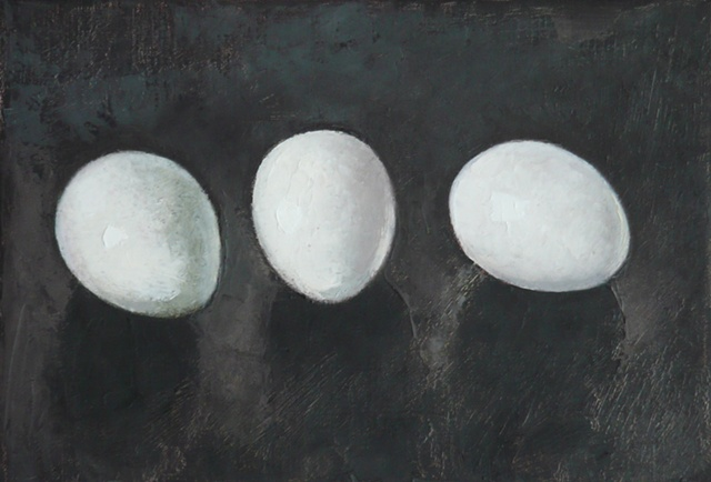 three white eggs on charcoal gray background; oil painting; art