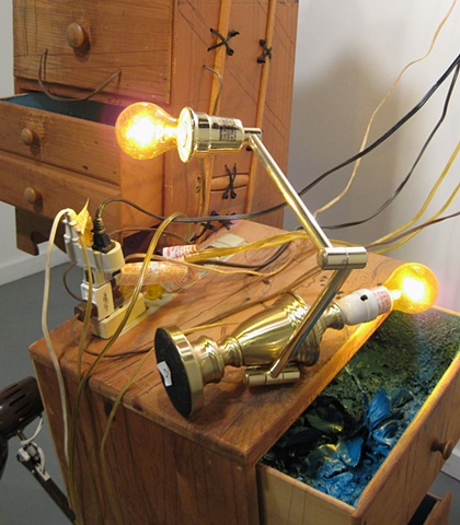 Detail  Title/Materials: Chests of Drawers, Lamps, Light Bulbs, Crutches, Surge Protector, Circuit Taps, Artificial Flowers, Paint, Sawdust, Wood Glue, Extension Cord